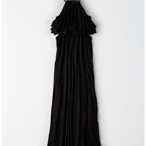 Knit Ruffle Cutout Maxi Dress